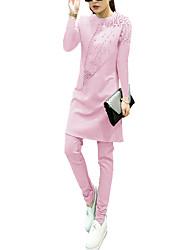 Женский На каждый день / Большие размеры Все сезоны Набор Брюки Костюмы Круглый вырез,Простое Однотонный Розовый / ФиолетовыйДлинный