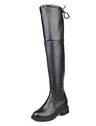 Women's Boots Winter Platform PU Casual Flat Heel Platform Split Joint Black Walking