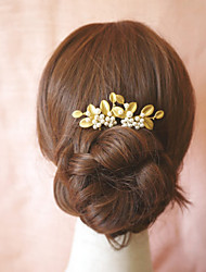 Women's Bridal Jewelry Fashion Gold Leaf Hand Beaded Flower Pearl Hairpin Hair Accessories  1 Piece