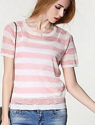 Damen Standard Pullover-Ausgehen Retro Gestreift Rundhalsausschnitt Kurzarm Polyester Winter Mittel Mikro-elastisch