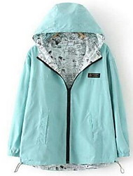 Women's Going out Simple Jackets,Solid Hooded Long Sleeve Fall Blue / Pink / Green Cotton Medium