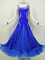 Ballroom Dance Dresses Women's Performance Spandex Organza Crystals/Rhinestones Splicing 1 Piece Long Sleeve Natural Dress