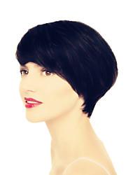 4-6inch máquina feita nenhum laço de cabelo virgem perucas naturais linha reta do Brasil curtas humanos cabelo para a mulher negra