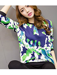 Sign # 702 Korean fashion wild loose long-sleeved round neck printed sweater female hedging