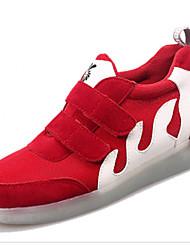 Unissex-Tênis-Conforto Sapatos de Berço Tira no Tornozelo-Rasteiro-Preto Vermelho Branco-Camurça-Casual Para Esporte