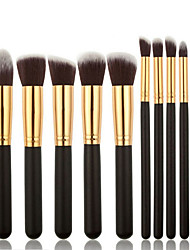 10 Makeup Brushes Set Synthetic Hair Professional / Soft / Portable Wood Handle Face/ Eye