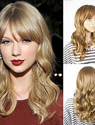 moyen femelle blond taylor swift de style résistant à la chaleur perruques célébrité vague coiffure capless perruques de cheveux