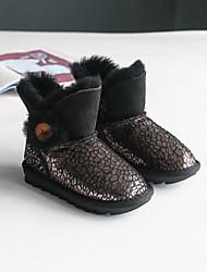 Girl's Boots Winter Others Comfort Leather Casual Flat Heel Buckle Black Khaki