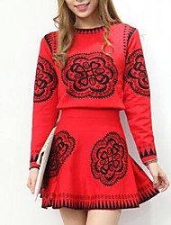 Women's Casual/Daily Simple Fall Shirt Skirt Suits,Print Round Neck Long Sleeve Red Polyester Medium