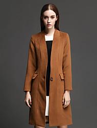 Manteau Femme,Couleur Pleine Décontracté / Quotidien simple Manches Longues Mao Marron Polyester Epais Hiver