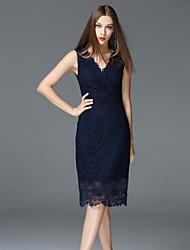 FRMZ  Going out Sophisticated Sheath DressSolid V Neck Knee-length Sleeveless Blue / White Cotton