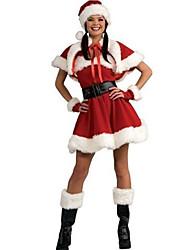 Fantasias de Cosplay Ternos de Papai Noel Festival/Celebração Trajes da Noite das Bruxas Vermelho MiscelâneaVestido / Xale / Mais