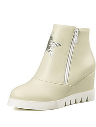 Women's Zipper High Heels Pu Solid Low Top Boots