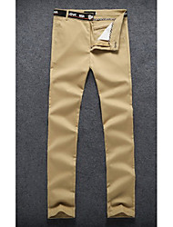 Hommes Slim Chino Pantalon,Vintage / simple Sortie / Décontracté / Quotidien / Soirée / Cocktail Couleur Pleine Taille Normalefermeture