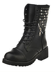 Women's Boots Winter Comfort PU Dress Low Heel Chain Lace-up Others Black