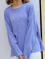 Damen Standard Pullover-Lässig/Alltäglich Einfach Solide Blau Rosa Lila Rundhalsausschnitt Langarm Baumwolle Herbst Mittel Mikro-elastisch