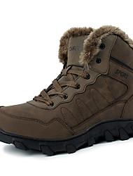 Men's Boots Winter Other Cowhide Fur Outdoor Flat Heel Black Green Walking