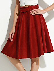 Women's Solid Red / Black / Brown Skirts,Simple Knee-length