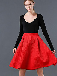 Women's A Line Solid Mesh Skirts,Casual/Daily Simple Mid Rise Knee-length Elasticity Cotton Micro-elastic Summer