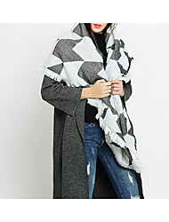 Women Faux Fur Scarf,Casual RectangleHoundstooth