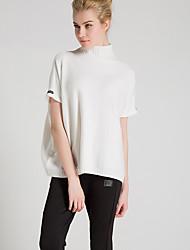Damen Standard Pullover-Übergröße Lässig/Alltäglich Einfach Solide Weiß Schwarz Grau Ständer Kurzarm Polyester Frühling Sommer Mittel