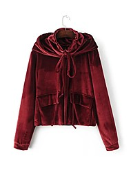 Women's Going out / Casual/Daily Simple / Cute Fall / Winter T-shirt,Solid Hooded Long Sleeve Red Cotton Medium
