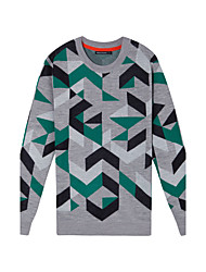 Metersbonwe Men's Casual/Daily Street chic Regular PulloverJacquard Gray Round Neck Long Sleeve Acrylic Winter Thick Inelastic