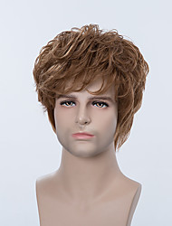 Handsome Short Capless Wigs Natural Wavy Human Hair For Men