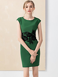 YZXH Women's Casual/Daily Vintage Bodycon DressEmbroidered Round Neck Above Knee Short Sleeve Green Polyester Spring High Rise Inelastic