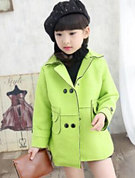 Girl Casual/Daily Solid Trench Coat,Cotton Winter Long Sleeve