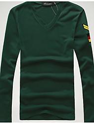 Herren Stickerei Einfach Lässig/Alltäglich T-shirt,V-Ausschnitt Herbst Langarm Blau / Rot / Weiß / Schwarz / Braun / Grau / Grün Baumwolle