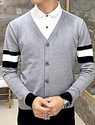 Men's Casual/Daily Simple Regular Cardigan,Solid Multi-color V Neck Long Sleeve Cotton Fall / Winter Medium Micro-elastic