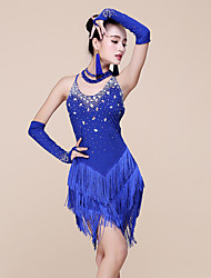 Latin Dance Dresses Women's Performance Spandex / Milk Fiber Beading / Tassel(s) 1 Piece Sleeveless Natural Dress