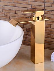 moda cachoeira de bronze do banheiro ti-pvd torneira da pia - ouro