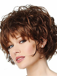 Capless Short Curly Fluffy Full Side Bang Synthetic Wigs for Women Brown Heat Resistant with Free Hair Net