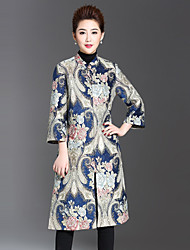 1898 Women's Plus Size / Casual/Daily Chinoiserie CoatJacquard Stand Long Sleeve Winter Blue Polyester