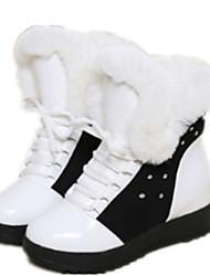 Women's Boots Winter Comfort Leatherette Casual Flat Heel Black White