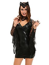 Disfraces de Cosplay Vampiros Festival/Celebración Traje de Halloween Negro Un Color Vestido / Collar / Para la CabezaHalloween /