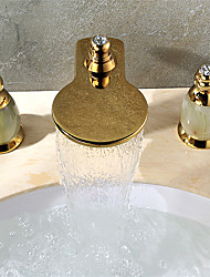 Contemporary Widespread Waterfall with  Ceramic Valve Two Handles Three Holes for  Ti-PVD , Bathroom Sink Faucet