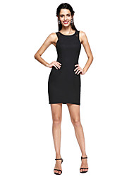 TS Couture® Prom  Cocktail Party Dress - Little Black Dress Sheath / Column Jewel Short / Mini Lace / Stretch Satin with Lace