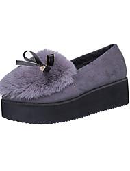 Feminino-Mocassins e Slip-Ons-Plataforma-Rasteiro-Preto Marrom Cinza-Outras Peles de Animais Pêlo-Casual