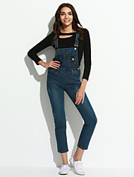 Women's Solid Blue Jumpsuits,Sophisticated Strap Sleeveless
