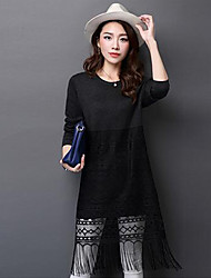 Women's Casual/Daily Simple Loose / Lace Dress,Solid / Patchwork Round Neck Knee-length Long Sleeve Black / Brown / Gray Wool / Polyester
