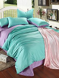 Double Color Pure Color Silk Bedding Four-Piece Suit