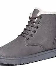 Women's Boots Fall Winter Comfort Fur Outdoor Casual Flat Heel Lace-up Black Red Gray Beige Walking