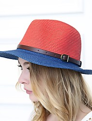 Women Vintage Casual Summer Stitching Color Leather Buckle Jazz Wide Eaves Straw Hat