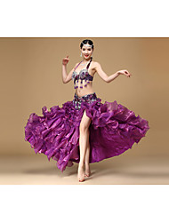 Belly Dance Outfits Women's Performance Polyester Beading / Crystals/Rhinestones 3 Pieces Sleeveless Dropped Waist Belt / Skirt / BraOne