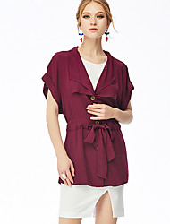 NAKED ZEBRA  Women's Casual Street chic JacketsSolid Shirt Collar Short Sleeve Autumn Red / Black Rayon