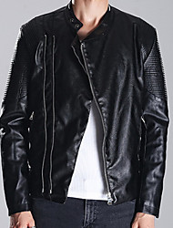 Men's Plus Size / Casual/Daily Simple Leather Jackets,Solid Stand Long Sleeve Fall Black PU Medium