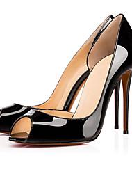Feminino-Saltos-Sapatos com Bolsa Combinando-Salto Agulha-Preto / Vermelho / Branco / Amêndoa-Courino-Escritório & Trabalho / Casual /